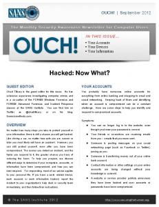 Hacked: Now What?