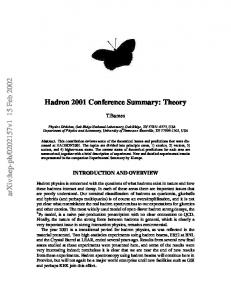 Hadron 2001 Conference Summary: Theory