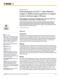Haematological and CD4+ T cells reference ranges in healthy ... - PLOS