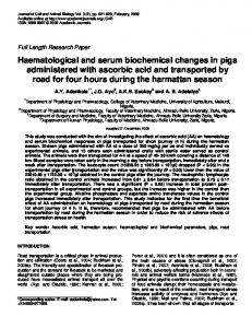 Haematological and serum biochemical changes ... - Academic Journals