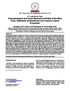 Haematological and Serum Biochemical Profile of the Blue Crab ...
