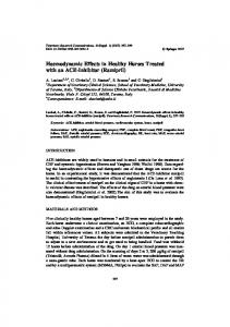 Haemodynamic Effects in Healthy Horses Treated with ... - Springer Link