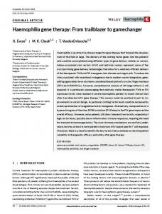 Haemophilia gene therapy - Wiley Online Library
