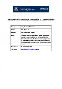 Hafnium Oxide Films for Application as Gate Dielectric
