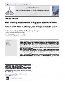 Hair mercury measurement in Egyptian autistic children