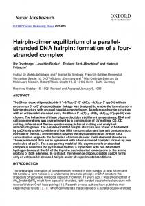 Hairpin-dimer equilibrium of a parallel- stranded DNA hairpin ...