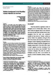 Haitian Immigrants in the Brazilian Labour Market: an overview