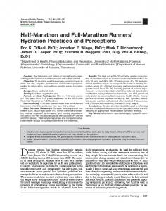 Half-Marathon and Full-Marathon Runners' Hydration Practices and ...