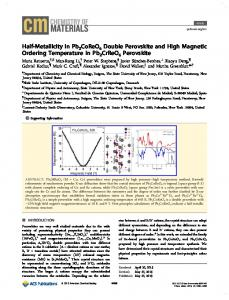 Half-Metallicity in Pb2CoReO6 Double Perovskite ... - ACS Publications