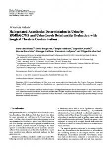 Halogenated Anesthetics Determination in Urine by SPME/GC/MS and ...