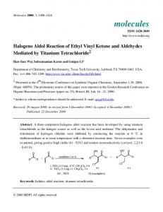 Halogeno Aldol Reaction of Ethyl Vinyl Ketone and Aldehydes