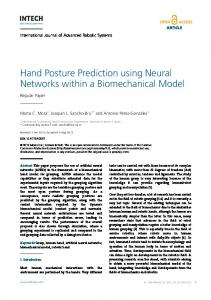 Hand Posture Prediction using Neural Networks within a ... - InTechOpen
