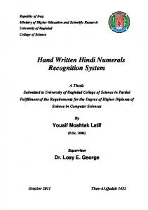 Hand Written Hindi Numerals Recognition System