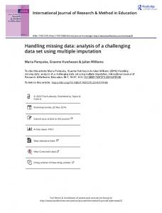 Handling missing data: analysis of a challenging data ...