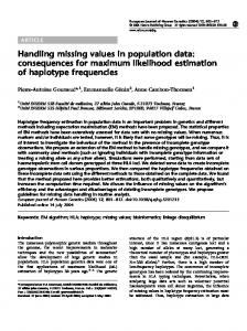 Handling missing values in population data: consequences for
