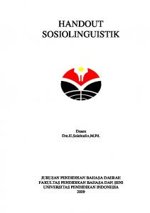 handout sosiolinguistik - File UPI - Universitas Pendidikan Indonesia