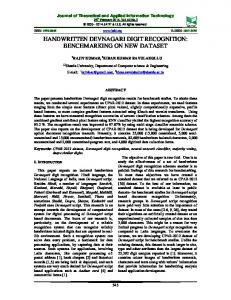 handwritten devnagari digit recognition - Journal of Theoretical and ...