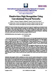 Handwritten Digit Recognition Using Convolutional Neural Networks
