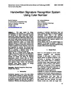 Handwritten Signature Recognition System Using Euler ... - CiteSeerX