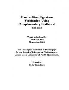Handwritten Signature Veri cation Using Complementary Statistical ...