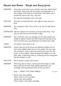 Hansel and Gretel - Script and Song Lyrics - Dotdismus