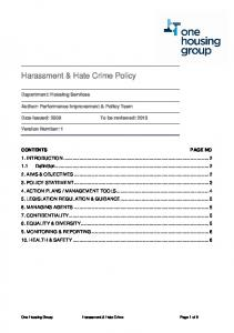 Harassment & Hate Crime Policy - One Housing Group