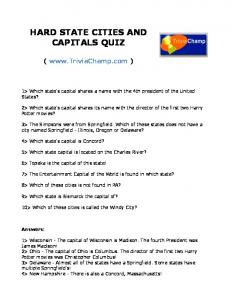 HARD STATE CITIES AND CAPITALS QUIZ - Trivia Champ