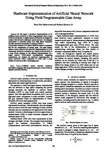 Hardware Implementation of Artificial Neural Network Using ... - ijcte