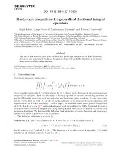 Hardy-type inequalities for generalized fractional ...