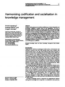 Harmonising codification and socialisation in knowledge management