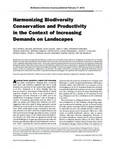 Harmonizing Biodiversity Conservation and