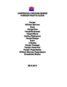 HARPERCOLLINSPUBLISHERS FOREIGN RIGHTS GUIDE Harper ...