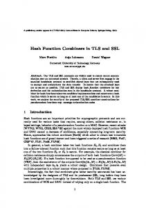 Hash Function Combiners in TLS and SSL - Semantic Scholar