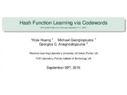 Hash Function Learning via Codewords - 2015 ECML ... - UCF EECS