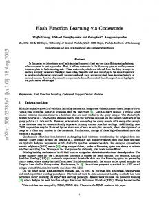 Hash Function Learning via Codewords - Semantic Scholar