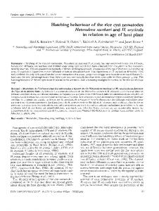 Hatching behaviour of the rice cyst nematodes Heterodera ... - Horizon