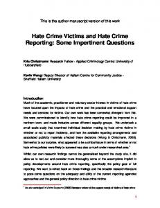 Hate Crime Victims and Hate Crime Reporting: Some ...