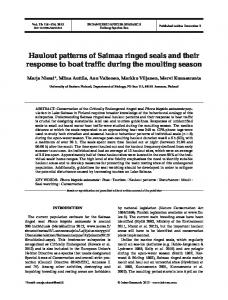 Haulout patterns of Saimaa ringed seals and their ... - Inter Research