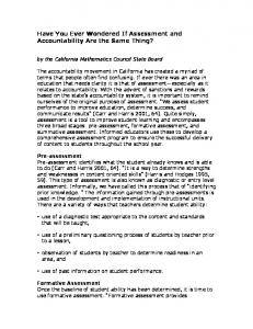 Have You Ever Wondered If Assessment and Accountability Are the ...