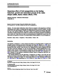 Hazardous effect of ZnS nanoparticles on the feeding behaviour ...