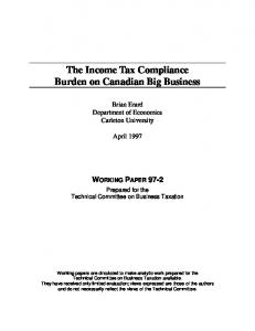 he Income Tax Compliance Burden on Canadian Big Business, [by ...