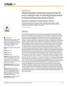 Head and pelvic movement asymmetries at trot in riding ... - PLOS