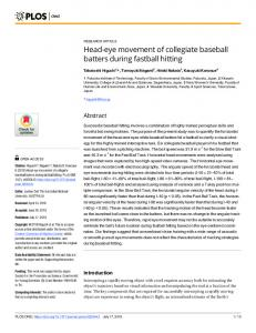 Head-eye movement of collegiate baseball batters during ... - PLOS