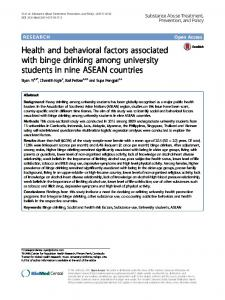 Health and behavioral factors associated with binge drinking among ...