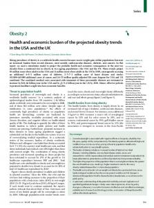 Health and economic burden of the projected obesity trends - NCCOR