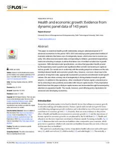 Health and economic growth: Evidence from