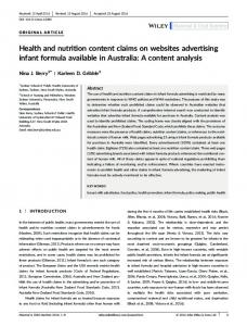 Health and nutrition content claims on websites advertising infant ...