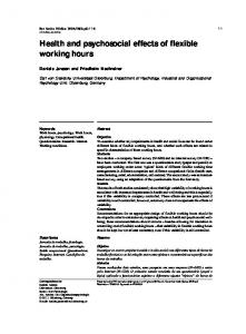 Health and psychosocial effects of flexible working hours