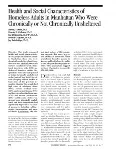 Health and Social Characteristics of Homeless ... - Psychiatric Services