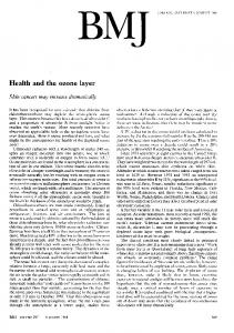 Health and the ozone layer.